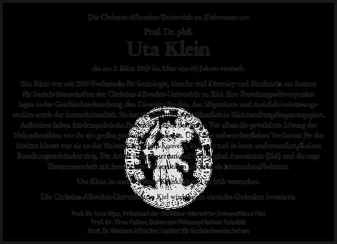 Traueranzeige Uta Klein